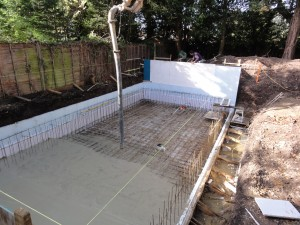 Steel reinforcement for indoor swimming pool