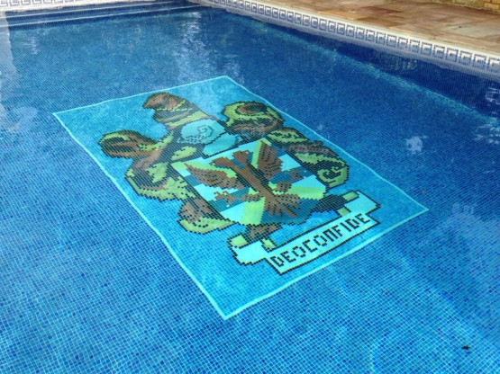 Coat of Arms replicated in tiles from an image over the client's front door