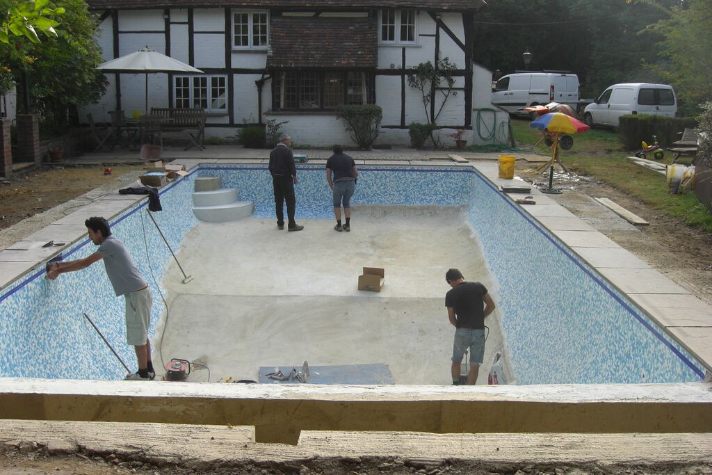 Repair and renovation of old concrete pool chobham for Concrete pool construction