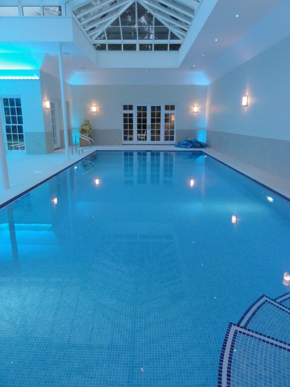 Indoor Fully Tiled Pool With Spa Automatic Slat Cover And