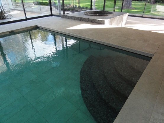 Large format pool and surround tiles